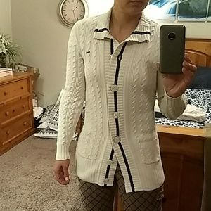 Lacoste Button Up Cable Cardigan Sweater